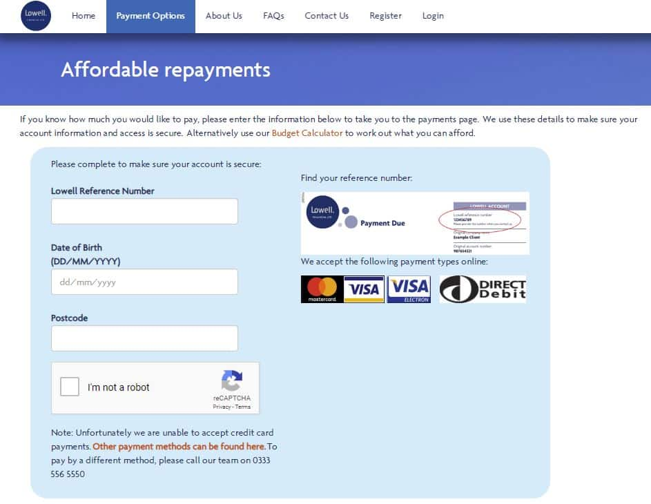 Payment options page in Lowell Group Debt