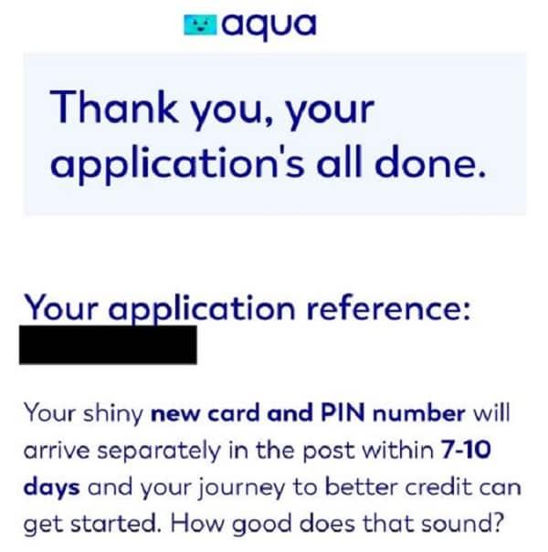 Final result for Aqua credit card