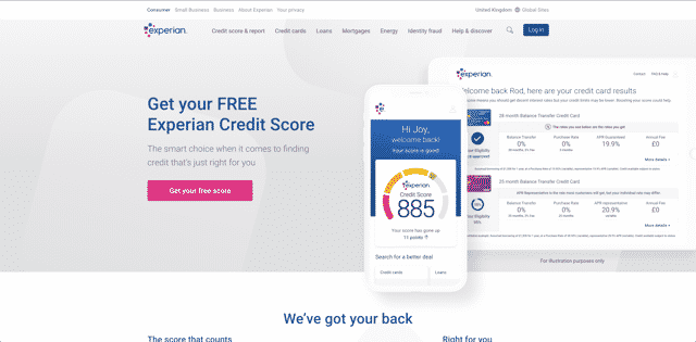 experian free credit score home page