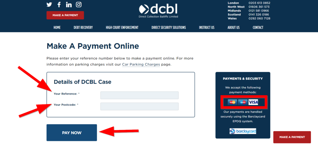 dcbl make a payment online with credit or debt card