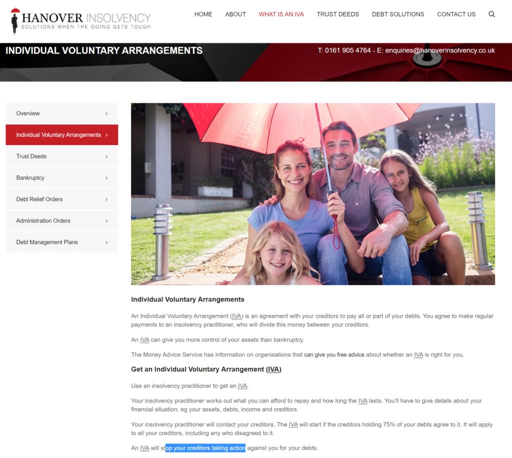 hanover insolvency IVA website