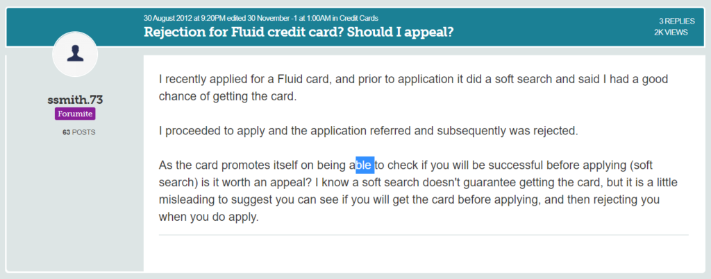 rejected by fluid credit card