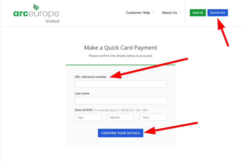 make arc europe payment